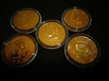 LOT OF 5 24 KT GOLD PLATED JF KENNEDY HALF DOLLAR COIN SET*- AIR TIGHT  CAPSULE