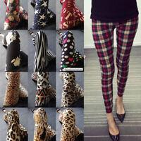 Latest Popular 71 Patterns Funky Checks Flower Prints Women Tight Leggings Pants