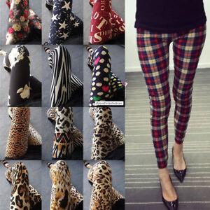 Latest Popular 88 Patterns Funky Checks Flower Prints Women Tight Leggings Pants