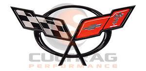 1997-2004 C5 Corvette Genuine GM Front Bumper Cross Flags Emblem 19207384