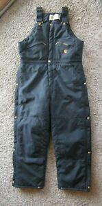 Vintage Carhartt Black Overalls Pants Cotton Nylon Lining Heavy Duty Men's 38x30