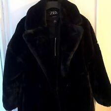 Zara Black faux fur coat Belted  Bnwt S A/w 2019
