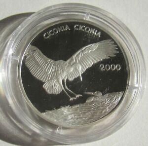 Congo 1000 Francs 2000 Wildlife White Stork Silver