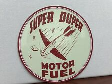 Super Duper aviation motor fuel advertising round sign garage man cave oil gas