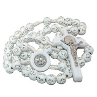 """White Rosary Beads Decorated with Cross Decor with Order of Saint Benedict 20"""""""