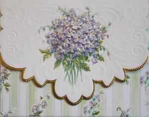 Carol Wilson Stationery 10 Blank Note Cards Envelopes Purple Violets Lace
