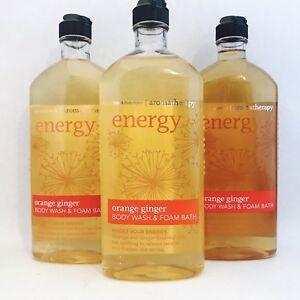 3 Bath & Body Works Aromatherapy Energy Orange Ginger Body Wash Foam Bath 10 Oz