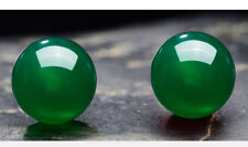 18K White Gold Filled Earrings 8mm Jade Beads Stud GF Charm Fashion Jewelry Gift