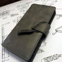 Series 1 Genuine Cowhide Leather Wallet Book Case Grey Sony Xperia XA1