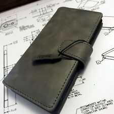 Genuine Leather Multi functional Wallet Book Case ION Grey For Sony Xperia PLUS