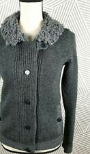 GAP Womens Wool Button Cardigan Sweater Jacket Career Small Boucle Collar Fuzzy