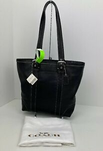 New Coach Tote Bag Hampton Black Smooth Leather F12607 B2S