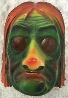 Vintage Halloween Witch Plastic Vacuform Mask Green Orange Creepy Elastic Band