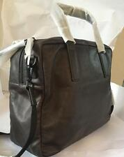 AllSaints Slate Grey Leather Boundary Double zip Weekend briefcase bag  128406