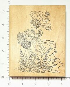 Victorian Lady with Parasol Flowers Basket Rubber Stamp by Stamps Happen 80009
