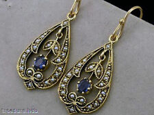 Earrings Sapphire Yellow Gold Vintage & Antique Jewellery