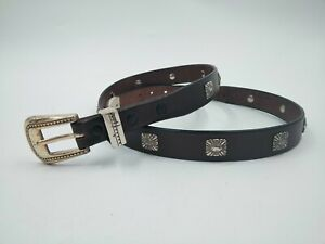 Brown Leather Studded Belt Size 34