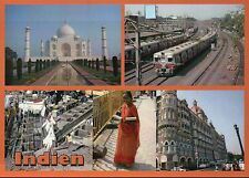 India, Taj Mahal in Agra, Railroad Train, Woman, Street View, Indien -- Postcard