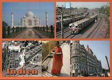 India, Taj Mahal in Agra, Railroad Train, Woman, Street View, Indien -- Postcard