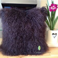 40x40CM GENUINE MONGOLIAN SHEEPSKIN LAMB WOOL FUR CUSHION COVER - DARK BROWN