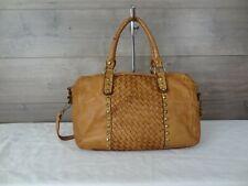 Costanza Rota Brown Leather Woven Crossbody Shoulder Bag Satchel Handbag Tote