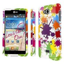 for LG Spirit 4G MS870 Full Coverage Hard Case Cover White Paint Splatter Design