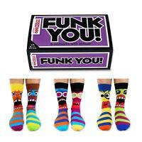 United Oddsocks Set Of 6 Funk You Odd Socks 6 - 11 UK Size Fun Faces Mens Gift