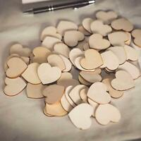 50/100 Pcs Natural Heart Blank DIY Wooden Craft Supplies Wedding Decor P0O2