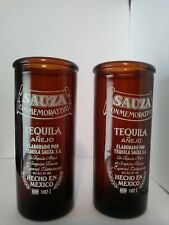 2 SAUZA COMMEMORATIVE TEQUILA SHOT GLASSES DARK AMBER BARWARE