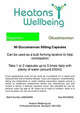 Glucomannan 500mg capsules. 90 capsules. 3000mg daily dose for weight loss