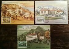 ABBEY architecture 3x MAXIMUM CARD Liechtenstein complete set castles abbeys