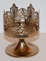 Bath & Body Works Gold Pedestal Maple Leaf 3 Wick Candle Sleeve holder NEW