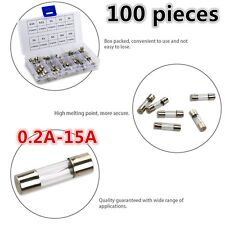 100pcs  5 x 20MM Fast-blow Glass Fuses Quick Blow Car Glass Tube Fuses Assorted#