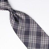 John G Hardy Mens Silk Necktie Navy Blue White Glen Plaid Check Italy Tie
