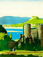 PAINTNG TRAVEL NORTH WALES, THE CONWAY ESTUARY, LMS ART POSTER PRINT LV3500