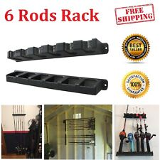 6 Rod Rack Fishing Poles Storage Vertical Horizontal Holder Wall Mount Home New