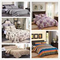 3 Piece Lightweight Quilt Set Full Queen/King Soft Floral Print Coverlet Set