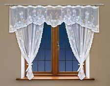 Modern, jacquard set net curtains and pelmet with curtain tape WHITE