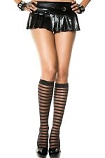 Black Sheer Opaque Stripe Knee High Ladies Socks DESIGNER Lingerie P5236