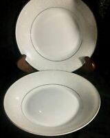 Mikasa Stratford Nita White Designer Collection Set of 2  Soup  Bowls  L9007