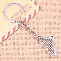 Silver Irish Harp Music Instrument Musician Novelty Keyring Keychain Gift Bag