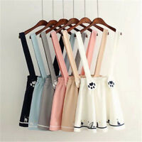 Japanese Kawaii Sweet Lolita Cat Print Preppy Mini skirt Suspender Dress Cosplay