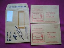 RARE PACIFIC PHOTO SERVICE Lab~SAN PEDRO CA~processing mailers envelopes 1957