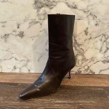 MANOLO BLAHNIK Brown Leather Point-Toe Ankle Boot Heels - US 9