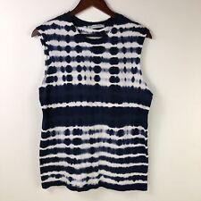 Groceries Apparel Women Small Blue White Tie Dye Tank Top Organic Cotton Shirt