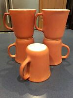 Vintage PYREX COFFEE MUG Set 5 Cup Corning D Handle Burnt Orange Milk Glass EUC