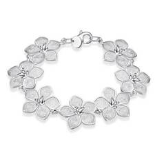 Fashion 925Sterling Solid Silver Jewelry Flower Link Bracelet For Women H317