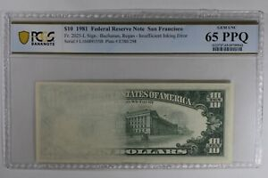 1981 $10 PCGS CU 64/65 PPQ  FR. 2025-L SAN FRAN INSUFFICIENT INK ERROR SET OF 10