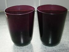 2 Amethyst/Purple Glass Tumbler Glasses