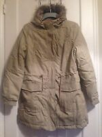 Ladies Stone Parka Coat With Fur Trimmed Hood Size 12/14